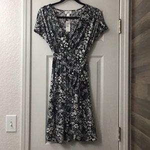 Women's wrap dress, Loft, size S, Black/White